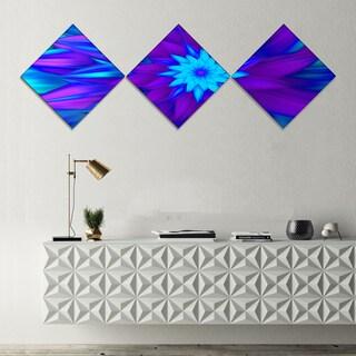 Designart 'Dance of Blue Flower Petals' Floral Canvas Art Print - 3 Diamond Canvas Prints