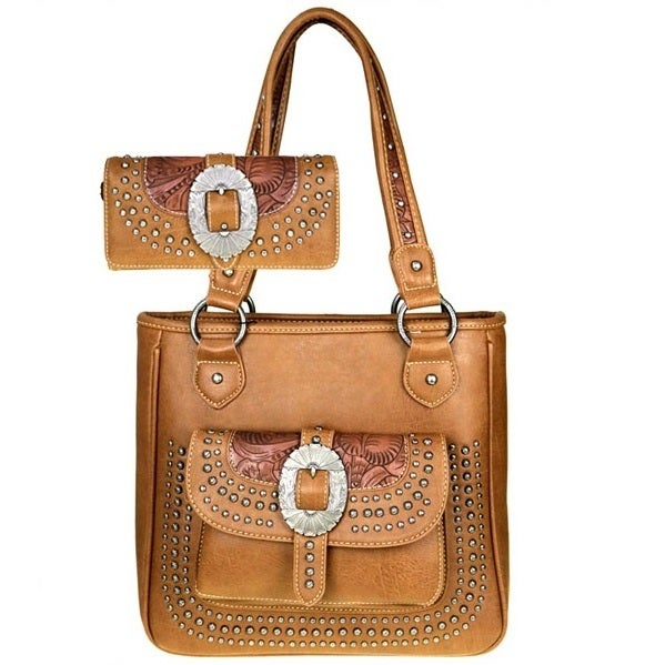 American Bling Buckle and Tooled Flower Brown Shoulder Handbag and ...