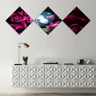 Designart 'Pink Bouquet of Beautiful Roses' Abstract Canvas Art Print - 3 Diamond Canvas Prints