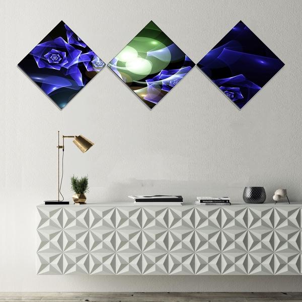 Designart 'Blue Bouquet of Beautiful Roses' Abstract Canvas Art Print - 3 Diamond Canvas Prints