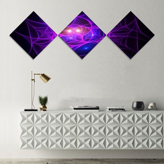 Designart 'Bright Purple Fractal Cobweb' Abstract Canvas Art Print - 3 Diamond Canvas Prints