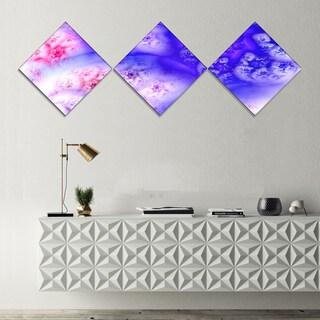 Designart 'Light Blue Magic Stormy Sky' Abstract Canvas Art Print - 3 Diamond Canvas Prints