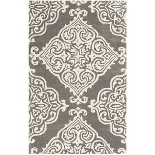 Safavieh Handmade Glamour Dark Grey/ Ivory Viscose Rug (2' x 3')