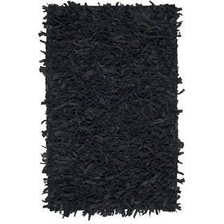 Safavieh Hand-Knotted Leather Shag Black Leather Rug (2' x 3')