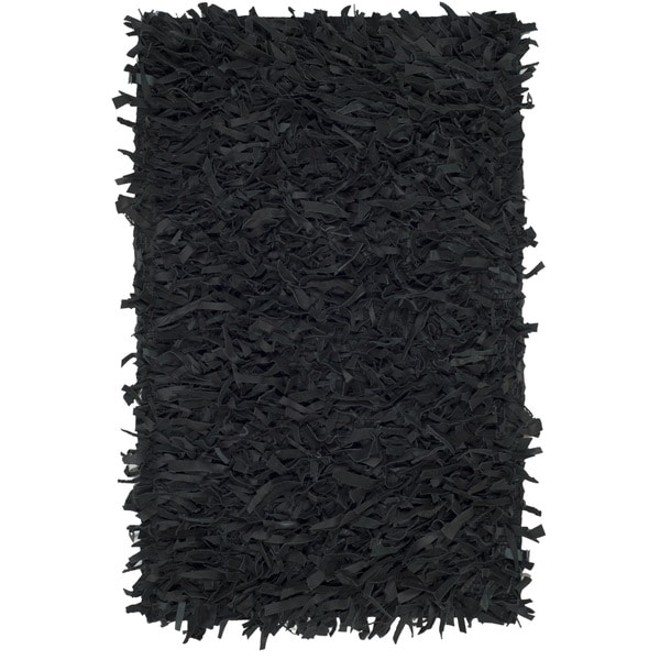 Safavieh Hand-Knotted Leather Shag Black Leather Rug - 2' x 3'