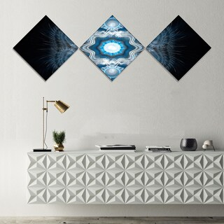Designart 'Cabalistic Clear Blue Texture' Abstract Canvas Art Print - 3 Diamond Canvas Prints