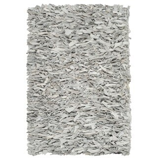 Safavieh Hand-Knotted Leather Shag Grey/ White Leather Rug (2' x 3')