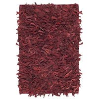 Safavieh Hand-Knotted Leather Shag Red Leather Rug (2' x 3')