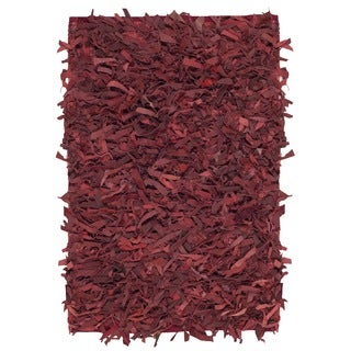 Safavieh Hand-Knotted Leather Shag Red Leather Rug - 2' X 3'
