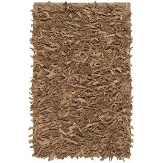 Safavieh Hand-Knotted Leather Shag Light Gold Leather Rug (2' x 3')