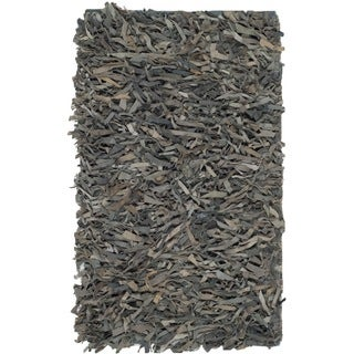 Safavieh Hand-Knotted Leather Shag Grey/ Beige Leather Rug - 2' X 3'