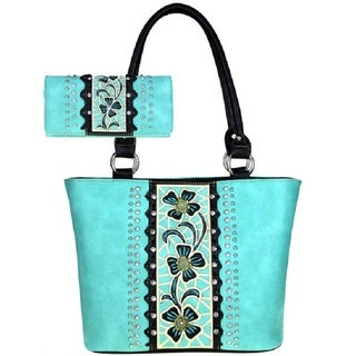 American Bling Turquoise Floral Shoulder Handbag and Wallet Set