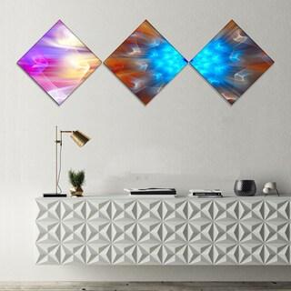 Designart 'Multi Color Exotic Flower Petals' Floral Canvas Art Print - 3 Diamond Canvas Prints