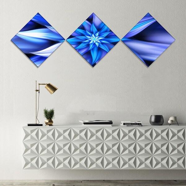 Designart 'Dancing Blue Flower Petals' Floral Canvas Art Print - 3 Diamond Canvas Prints