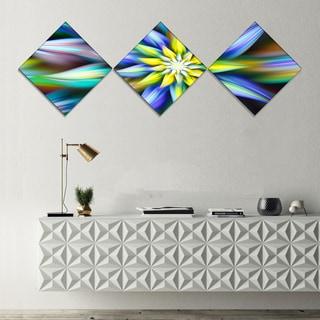 Designart 'Dancing Multi Color Flower Petals' Floral Canvas Art Print - 3 Diamond Canvas Prints