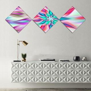 Designart 'Dancing Pink Flower Petals' Floral Canvas Art Print - 3 Diamond Canvas Prints
