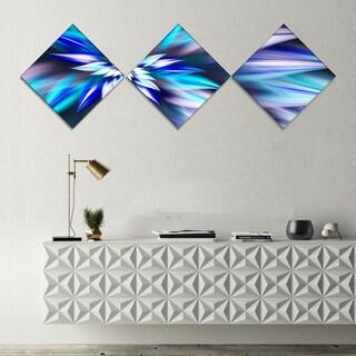 Designart 'Dancing Light Blue Flower Petals' Floral Canvas Art Print - 3 Diamond Canvas Prints