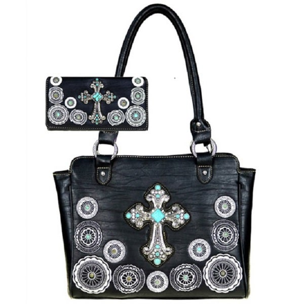 4f68eb37e5 American Bling Turquoise Cross on Black Shoulder Handbag and Wallet Set