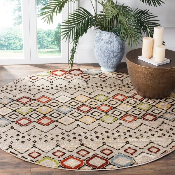 Safavieh Amsterdam Bohemian Light Grey/ Multi Rug - 5'1 round