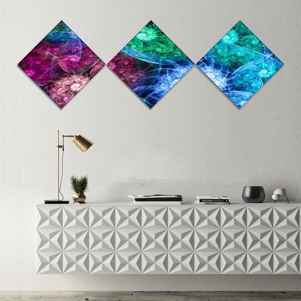 Designart 'Multi Color Bright Exotic Flowers' Abstract Wall Art Canvas - 3 Diamond Canvas Prints