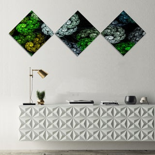 Designart 'Bright Exotic Spiral Flowers' Abstract Wall Art Canvas - 3 Diamond Canvas Prints