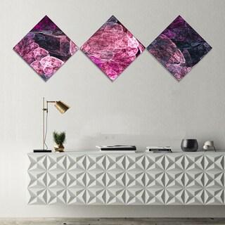 Designart 'Abstract Purple Fractal Illustration' Abstract Wall Art Canvas - 3 Diamond Canvas Prints