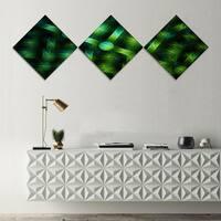 Designart 'Crystal Cell Green Steel Texture' Abstract Canvas Art Print - 3 Diamond Canvas Prints