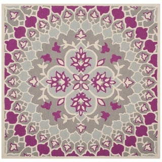 Safavieh Handmade Bellagio Bohemian Grey/ Ivory Wool Rug (5' Square)