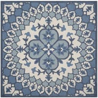 Safavieh Handmade Bellagio Bohemian Ivory/ Blue Wool Rug - 5' Square