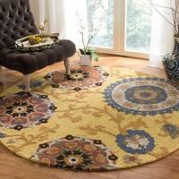 Safavieh Handmade Blossom Gold/ Multi Wool Rug - 6' Round