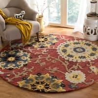 Safavieh Handmade Blossom Red/ Multi Wool Rug (6' Round)