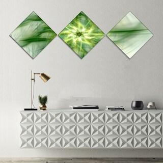Designart 'Rotating Bright Green Flower' Abstract Canvas Art Print - 3 Diamond Canvas Prints