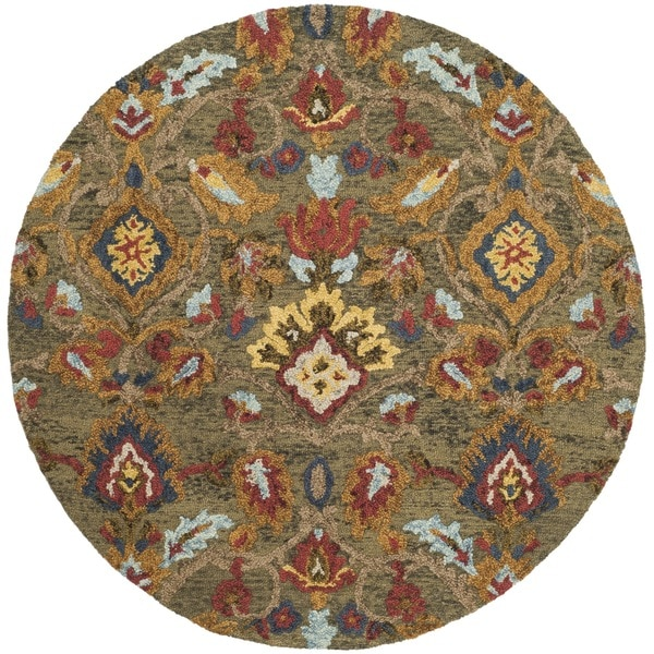Safavieh Handmade Blossom Green/ Multi Wool Rug (6' Round)
