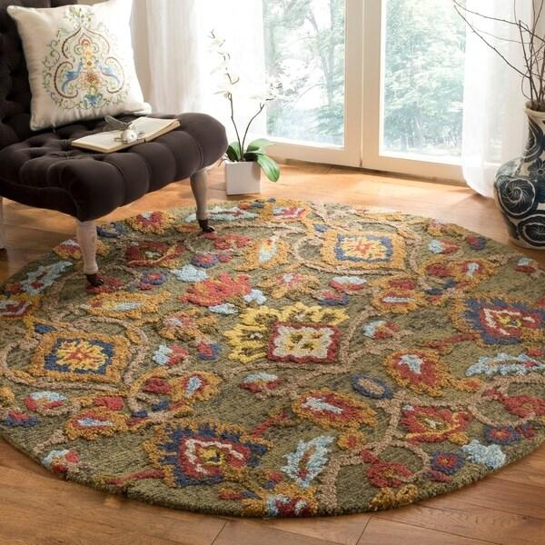Safavieh Handmade Blossom Green/ Multi Wool Rug - 6' x 6' Round