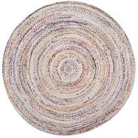 Safavieh Hand-Woven Braided Bohemian Ivory/ Multi Cotton Rug - 4' Round