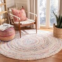 Safavieh Hand-woven Reversible Braided Beige/ Multi Cotton Rug - 6' x 6' Round