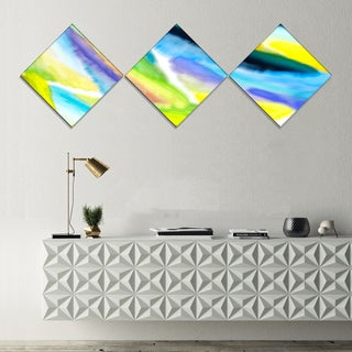 Designart 'Green Vibrant Brushstrokes' Abstract Canvas Art Print - 3 Diamond Canvas Prints