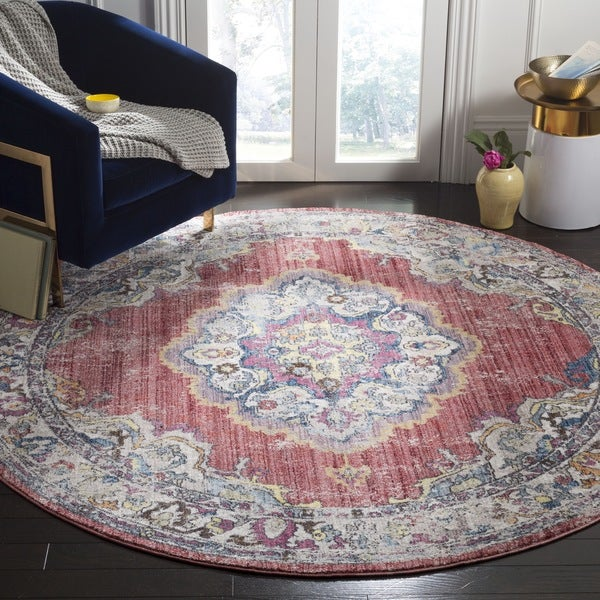 Safavieh Bristol Vintage Rose/ Light Grey Polyester Rug (7u0026#x27; ...