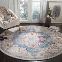Safavieh Bristol Vintage Blue/ Light Grey Polyester Rug - 7' Round
