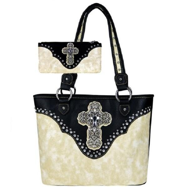 88ce8b8911 American Bling Beige Rhinestone Cross Concho Shoulder Handbag and Wallet Set