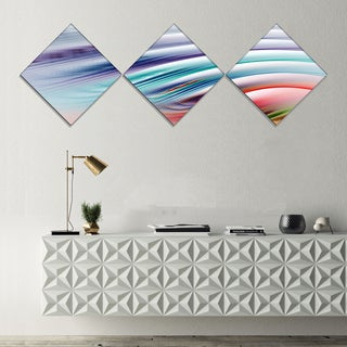 Designart 'Water Ripples Rainbow Waves' Abstract Canvas Art Print - 3 Diamond Canvas Prints