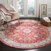 Safavieh Bristol Vintage Rose/ Light Grey Polyester Rug - 7' Round