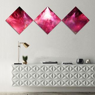 Designart 'Red Fractal Crystals Design' Abstract Canvas Art Print - 3 Diamond Canvas Prints