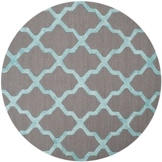Safavieh Handmade Cambridge Grey/ Turquoise Wool Rug (6' Round)