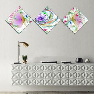 Designart 'Multi Color Exotic Flower Whirlpool' Floral Canvas Art Print - 3 Diamond Canvas Prints