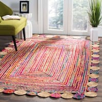 Safavieh Hand-Woven Cape Cod Red/ Multi Jute Rug - 4' Round