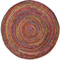 Safavieh Handmade Cape Cod Boho Braided Red/ Multi Cotton Rug - 3' Round