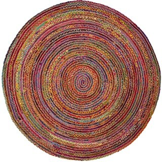 Safavieh Hand-Woven Cape Cod Red/ Multi Jute Rug (3' Round)