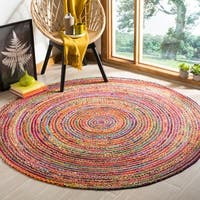 Safavieh Hand-Woven Cape Cod Red/ Multi Jute Rug - 6' Round