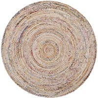 Safavieh Handmade Cape Cod Boho Braided Beige/ Multi Cotton Rug - 4' X 4' Round